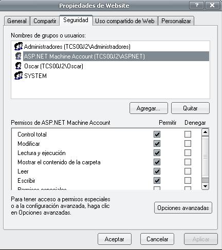 Privilegios al usuario ASP.NET